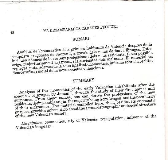 Llibre del Repartiment, antropolog�a , Desamparados Cabanes