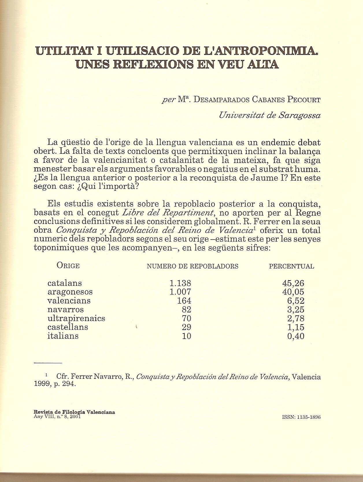 Estudio de Amparo cabanes, en la Revista de Filologia Valenciana
